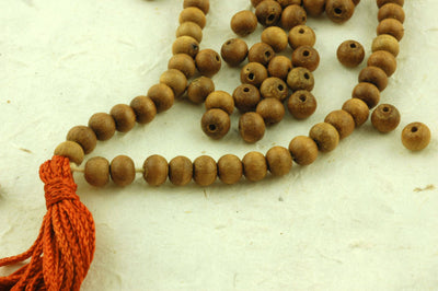 6mm Sandalwood, 108 Aromatic Bead Mala - ShopWomanShopsWorld.com. Bone Beads, Tassels, Pom Poms, African Beads.