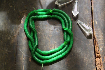 Luck O' the Irish: Vintage Bright Green Faceted Sequins, 6mm - ShopWomanShopsWorld.com. Bone Beads, Tassels, Pom Poms, African Beads.