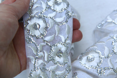 "Wedding Day Sparkle: White & Silver, Flowers, Sequins Floral Mesh Trim / Sari Border / India, 2 1/2"" x 1 yard / Bridal, Summer Supplies - ShopWomanShopsWorld.com. Bone Beads, Tassels, Pom Poms, African Beads."