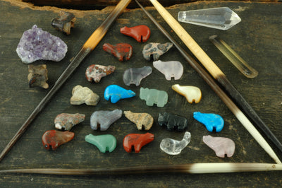 Fetish Totem Zuni Animal Beads, Assorted Gemstones, 25 pcs, 11x16mm