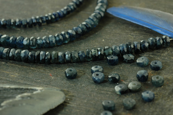 "Blue Jean Sparkle: Natural Blue Sapphire A-Grade Faceted Rondelle Beads / 15 beads 3x1.5mm, 1"" / Organic Gemstone, Jewelry Making Supplies - ShopWomanShopsWorld.com. Bone Beads, Tassels, Pom Poms, African Beads."