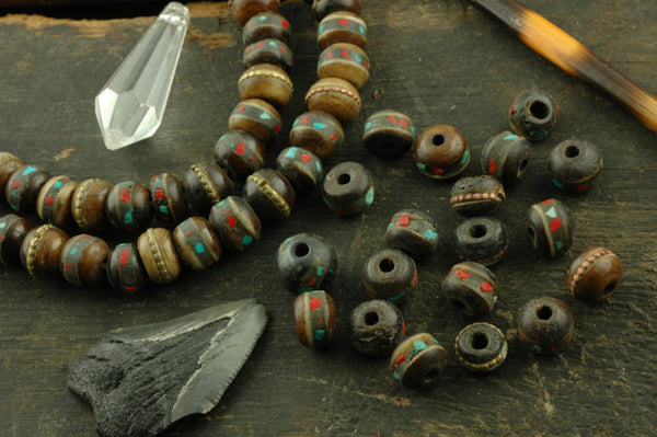 Bark: Brown Bone Beads, Inlaid with Coral, Turquoise, Brass, 9mm, 10 beads - ShopWomanShopsWorld.com. Bone Beads, Tassels, Pom Poms, African Beads.