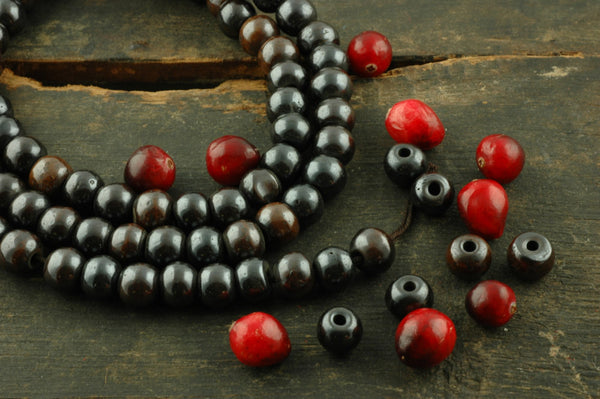 Sparkle: High Polish Blackish Brown Bone, 10x8mm, 108 Bead Mala - ShopWomanShopsWorld.com. Bone Beads, Tassels, Pom Poms, African Beads.