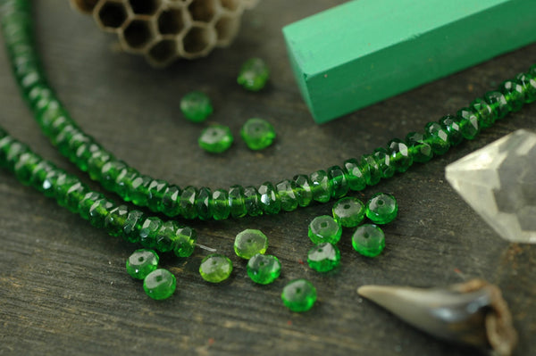 Festive: Chrome Diopside Faceted Rondelle Beads, 10 beads, 4x2mm, Sparkling Natural Green Gemstone, Rare Vibrant Jewelry Making Supplies - ShopWomanShopsWorld.com. Bone Beads, Tassels, Pom Poms, African Beads.