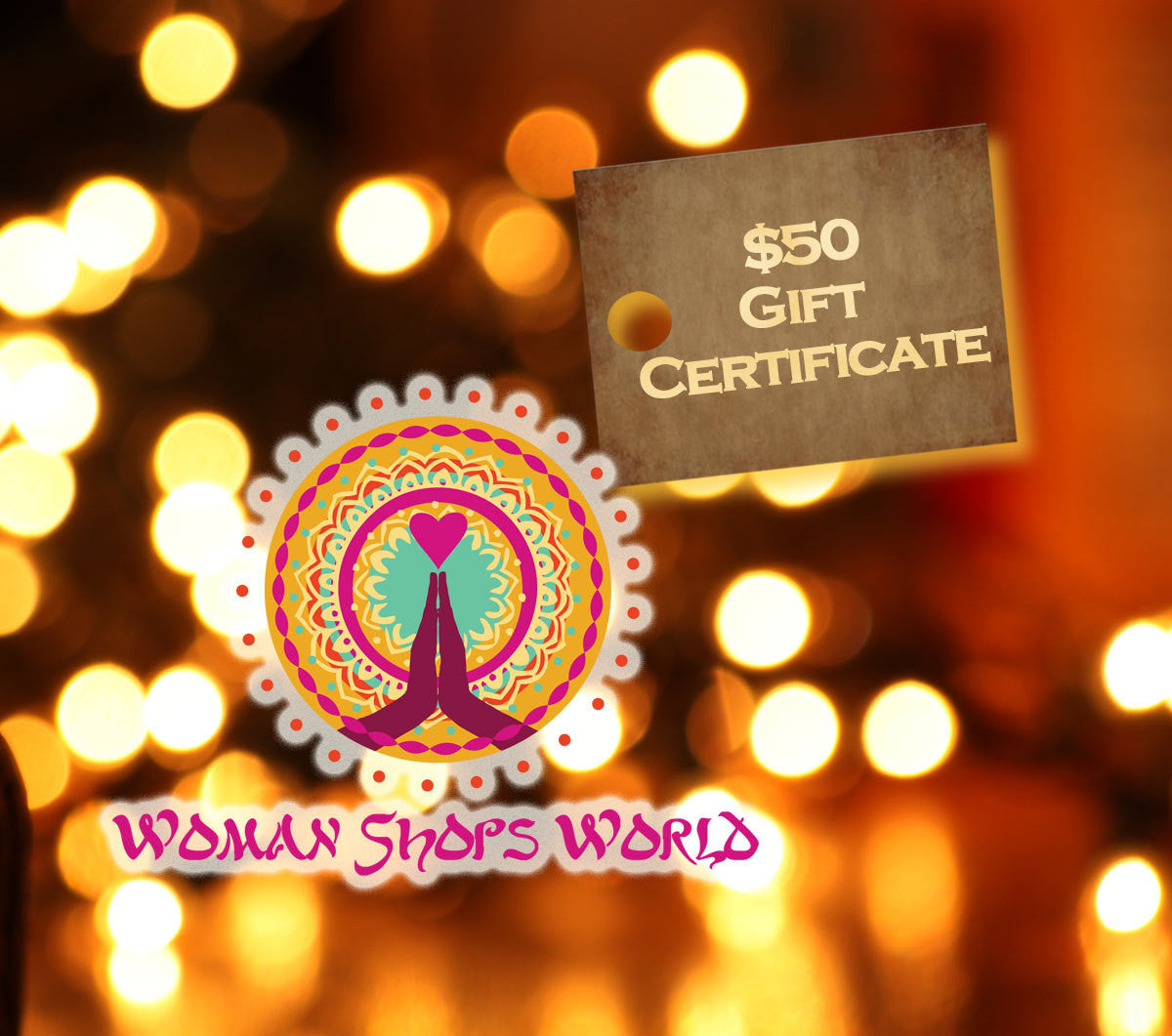 Gift Certificate: 50 Dollars from WomanShopsWorld / Worldly, Tribal Craft, Jewelry Making Supplies / For the Crafty Person on your List - ShopWomanShopsWorld.com. Bone Beads, Tassels, Pom Poms, African Beads.