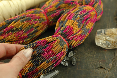 Ombre Mustard, Pink, Blue Webbed Nylon Cording, Ribbon, Sari Border / India / 4mm x 16 yard spool / Jewelry Making, Winter Craft Supplies - ShopWomanShopsWorld.com. Bone Beads, Tassels, Pom Poms, African Beads.