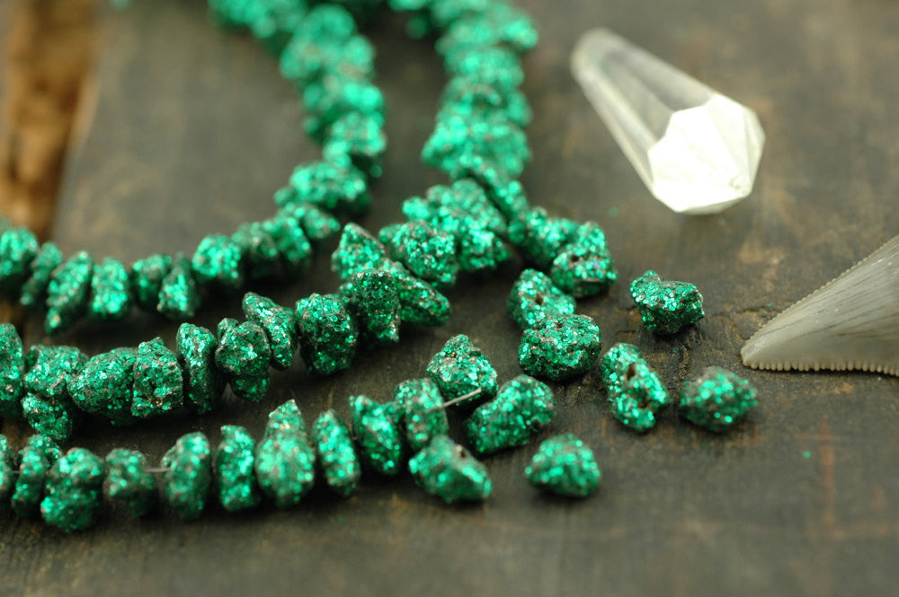 Green Pyrite Sparkle: Glittered Gemstone Nugget Beads / 10 beads, 11x5mm / Glittery, Flashy Designer Festive Craft, Jewelry Making Supplies - ShopWomanShopsWorld.com. Bone Beads, Tassels, Pom Poms, African Beads.