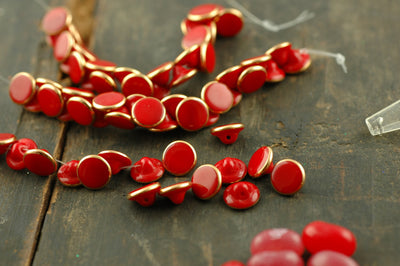 Cherry Red Gold-Rimmed Vintage Czech Glass Buttons, 10.5mm, 24 pieces - ShopWomanShopsWorld.com. Bone Beads, Tassels, Pom Poms, African Beads.