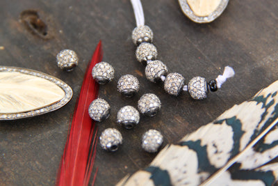 A Girls' Best Friend: Pavé Diamond Round Bead, 6mm - ShopWomanShopsWorld.com. Bone Beads, Tassels, Pom Poms, African Beads.