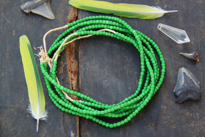 Lucky You - Green White Heart: African Glass Beads, Necklace, 5x3mm - ShopWomanShopsWorld.com. Bone Beads, Tassels, Pom Poms, African Beads.