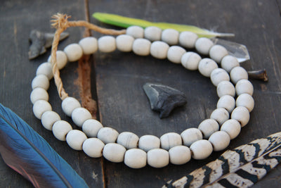 Large Creamy Glass Oval Beads, Africa / 12x14mm / Tribal Fashion Necklace / Natural, Large-Hole, Egg Shaped Boho Jewelry Making Supplies - ShopWomanShopsWorld.com. Bone Beads, Tassels, Pom Poms, African Beads.