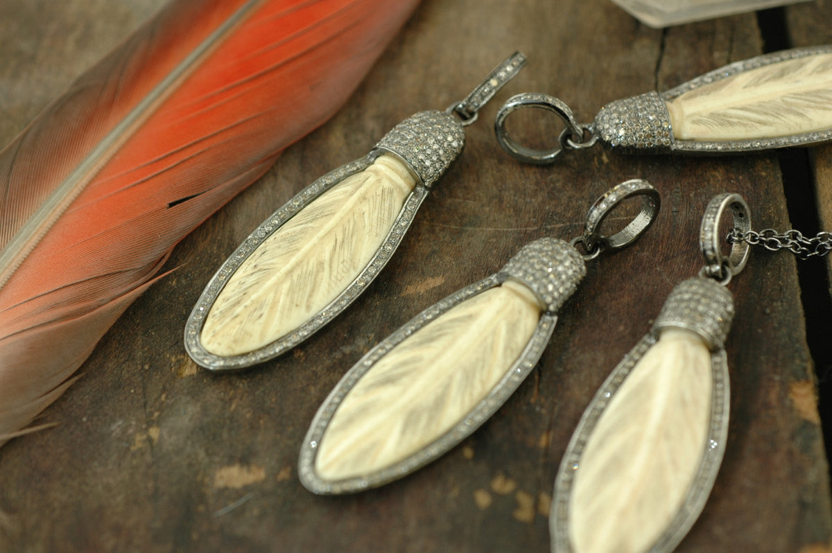 Fly with Me Feather:  Sterling Silver, Bone & Pavé Diamond Pendant