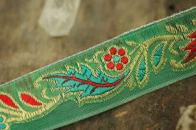 "Fresh: Spring Green, Red, Gold Trim, Ribbon, Sari Border, 1 1/8"" x 1yard - ShopWomanShopsWorld.com. Bone Beads, Tassels, Pom Poms, African Beads."