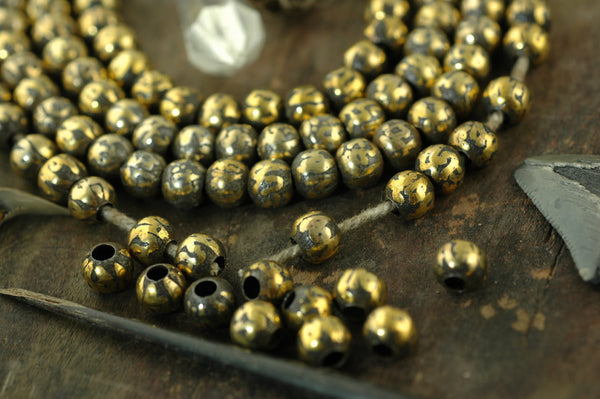 Bits of Sparkle: 10 Loose Brass, Copper Golden Hollow 8mm Beads