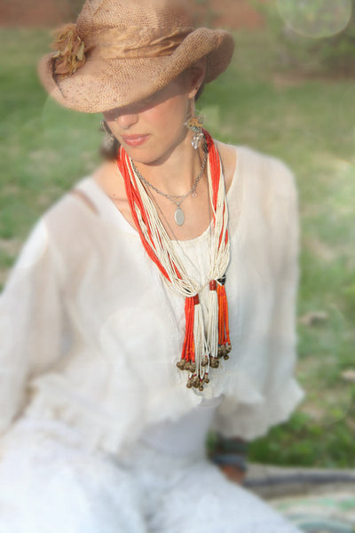JuJu in those Bells: Vintage Fulani African Bead Necklace / Red, White Tribal Jewelry / Authentic, Rare, Magical Fashion / Seed Beads, Brass - ShopWomanShopsWorld.com. Bone Beads, Tassels, Pom Poms, African Beads.