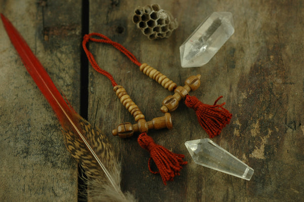 Count Your Mantras: Red Tasseled Mala Counters, Prayer Beads, Dorje, Bell - ShopWomanShopsWorld.com. Bone Beads, Tassels, Pom Poms, African Beads.