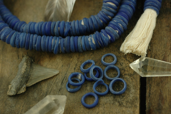 Blue Dutch Donut Dogan Beads from Mali, 11-12mm, 10 pieces - ShopWomanShopsWorld.com. Bone Beads, Tassels, Pom Poms, African Beads.
