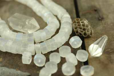 Lunar Glow: Faceted Natural Moonstone Beads, 5 pieces, 10x6mm - ShopWomanShopsWorld.com. Bone Beads, Tassels, Pom Poms, African Beads.