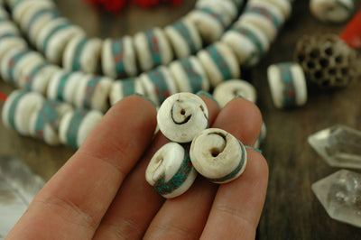Turquoise Coral Seas: Inlaid Nepali Conch Shell Beads15x12mm, 6 loose beads, Nautical Boho Yoga Fashion, Mala Jewelry Making Supplies - ShopWomanShopsWorld.com. Bone Beads, Tassels, Pom Poms, African Beads.