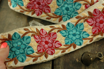 "Starburst Flowers: Pink, Aqua, Cream Floral Silk Trim, Ribbon, Sari Border, India 2 5/8""x1 Yard / Embroidered Craft, Sewing Supplies, DIY - ShopWomanShopsWorld.com. Bone Beads, Tassels, Pom Poms, African Beads."