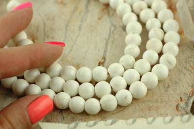 The Sound of the Sea: Natural Nepali Conch Shell Round Beads 8-9mm, 108 beads, White, Nautical Boho Yoga Fashion, Jewelry Making Supplies - ShopWomanShopsWorld.com. Bone Beads, Tassels, Pom Poms, African Beads.
