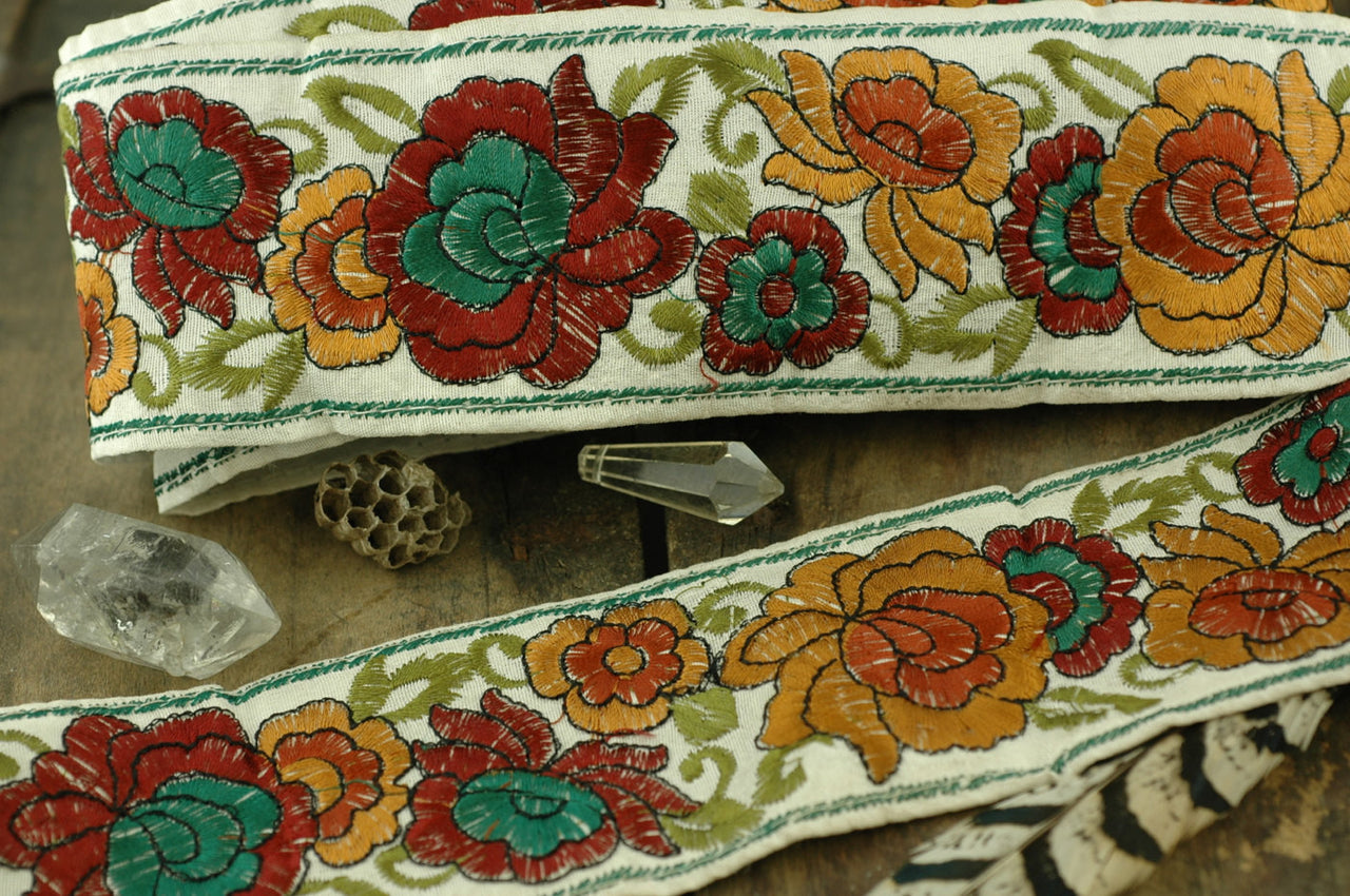 "MidSummer Garden: Burgundy, Green, Mustard Silk Ribbon from India 2 1/2""x1 Yard / Sari Border, Floral Craft and Sewing Supplies - ShopWomanShopsWorld.com. Bone Beads, Tassels, Pom Poms, African Beads."