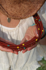 Vinyl Magic: Vintage African Vinyl Record Bead Statement Necklace, Multi-Strand / Brown Tribal, Boho Summer Festival Fashion, Jewelry - ShopWomanShopsWorld.com. Bone Beads, Tassels, Pom Poms, African Beads.