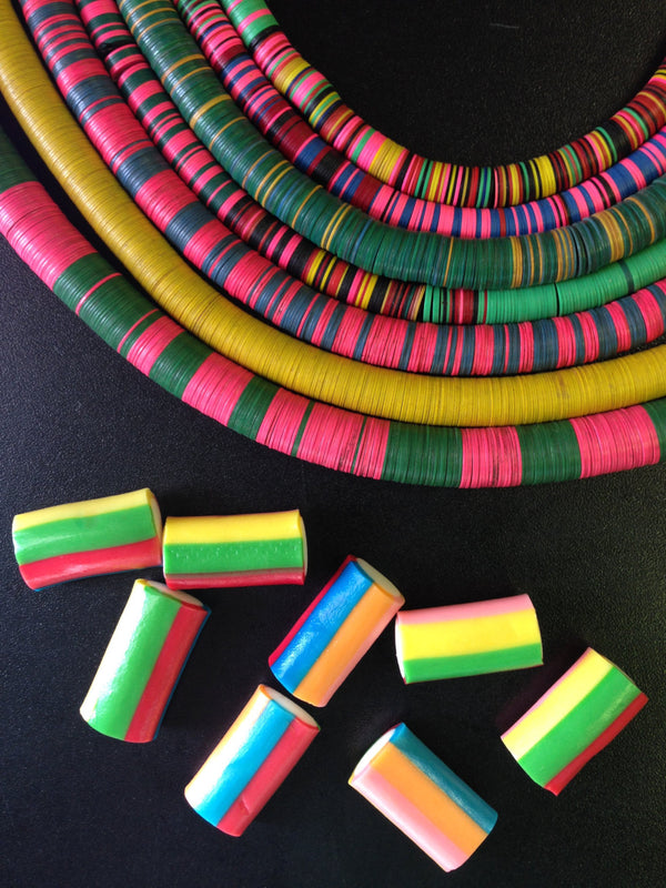 Wholesale Listing: Vintage African Vinyl Record Disc Beads, You Choose which 6 strands / Tribal Wholesale Jewelry Making Supplies, Heishi - ShopWomanShopsWorld.com. Bone Beads, Tassels, Pom Poms, African Beads.