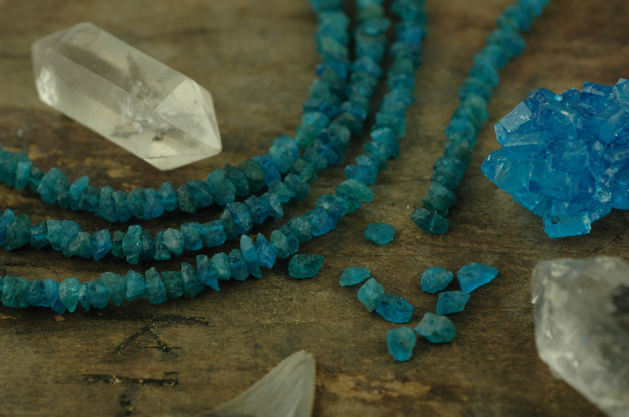 Tropical Seas: Dark Apatite Rough Nugget Beads, 10 pieces, 6x4mm, Drilled - ShopWomanShopsWorld.com. Bone Beads, Tassels, Pom Poms, African Beads.