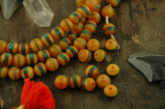 Amber Glow: 10mm Coral/ Turquoise/ Brass Inlaid Beads, 10 pc