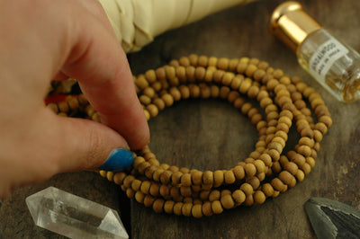 5mm Sandalwood, 108 Aromatic Bead Mala - ShopWomanShopsWorld.com. Bone Beads, Tassels, Pom Poms, African Beads.