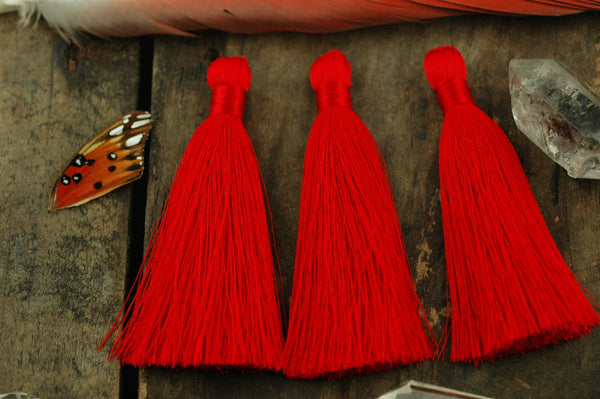 "Red Silky Luxe Tassels, 3.5"", 2 pieces - ShopWomanShopsWorld.com. Bone Beads, Tassels, Pom Poms, African Beads."