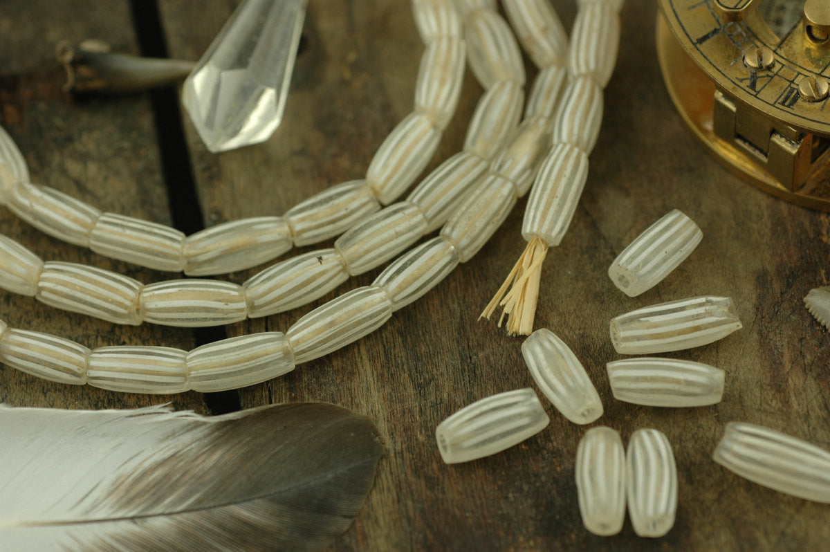 Gooseberry Antique White & Clear African (Italian) Glass Trade Beads / 5.5x12mm, 4 Loose Beads / Rare, Collectible Jewelry Making Supplies - ShopWomanShopsWorld.com. Bone Beads, Tassels, Pom Poms, African Beads.