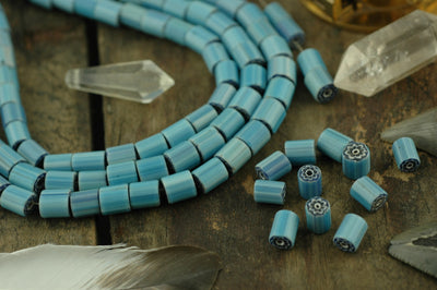 Antique Blue Flower Millefiore Cane Glass Beads 9x8mm, 6 beads - ShopWomanShopsWorld.com. Bone Beads, Tassels, Pom Poms, African Beads.