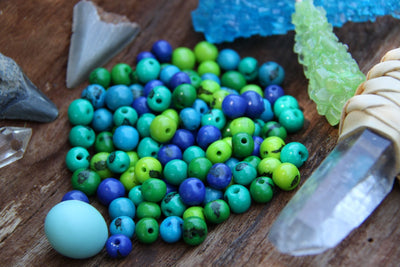Tropical Tango Mix: Real, Natural Acai Beads, 10mm, 100 pieces - ShopWomanShopsWorld.com. Bone Beads, Tassels, Pom Poms, African Beads.