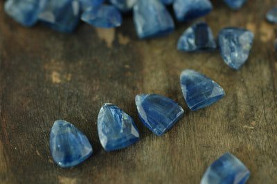 Kyanite Trillion : Brilliant Sparkling Blue Faceted Teardrop Beads / 9x12mm, 4 Beads / Designer Quality NaturalJewelry Making Supplies - ShopWomanShopsWorld.com. Bone Beads, Tassels, Pom Poms, African Beads.