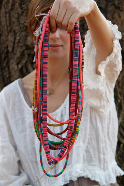 Gypsy Dreams: Your Personalized Set of Vintage Vinyl Record Bead Statement Necklaces / Tribal, Boho Necklaces, Fashion, Style Acccessories - ShopWomanShopsWorld.com. Bone Beads, Tassels, Pom Poms, African Beads.