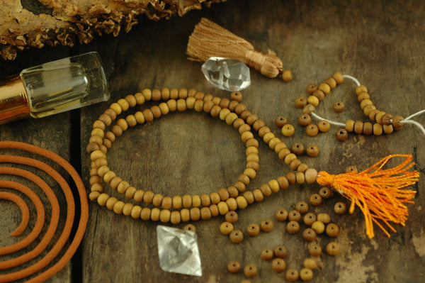 4mm Sandalwood, 108 Aromatic Bead Mala - ShopWomanShopsWorld.com. Bone Beads, Tassels, Pom Poms, African Beads.