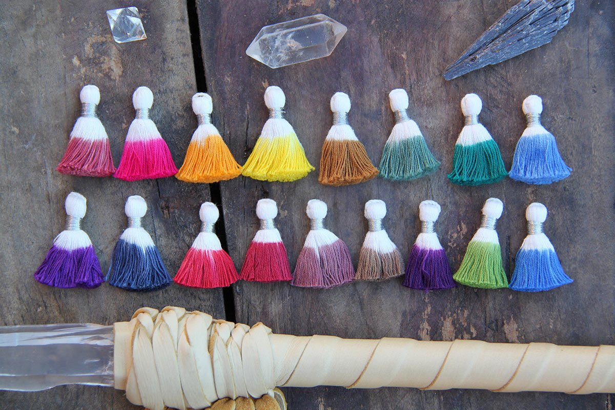 "Mini Dip Dye Ombre Tassels, 1.25"" Cotton Fringe Pendants, 3+ Pieces"