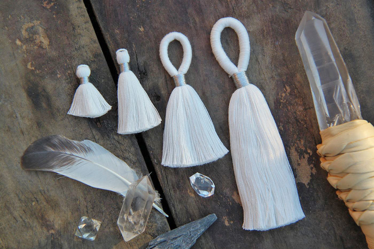 Pure White: You Dye It, Handmade Cotton Tassels, Assorted Sizes - ShopWomanShopsWorld.com. Bone Beads, Tassels, Pom Poms, African Beads.