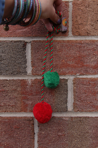 "Red, Green Pom Pom Swag: Rich Festive Holiday Swag, 2"" Pom, 1.5"" Pom - ShopWomanShopsWorld.com. Bone Beads, Tassels, Pom Poms, African Beads."