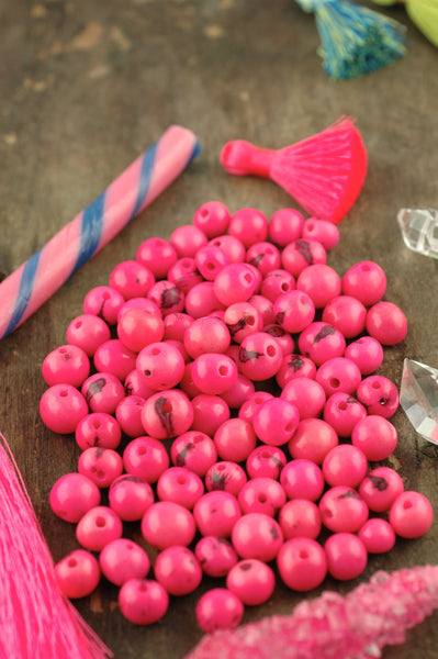 Bubble Gum Pink: Real, Natural Acai Beads, 10mm, 100 beads - ShopWomanShopsWorld.com. Bone Beads, Tassels, Pom Poms, African Beads.