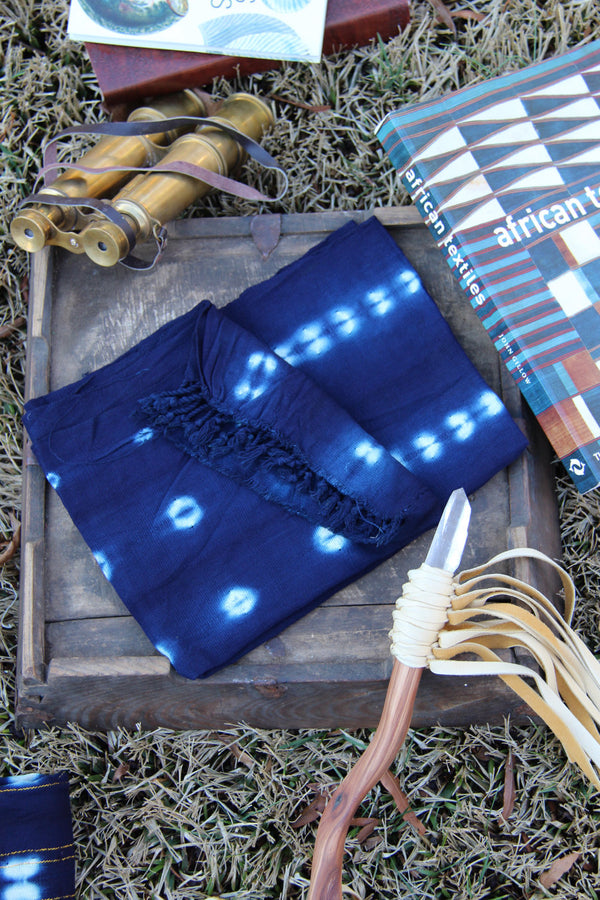 Small Hand Dyed Indigo, African Batik Strip Cloth, Tribal Wall Hanging