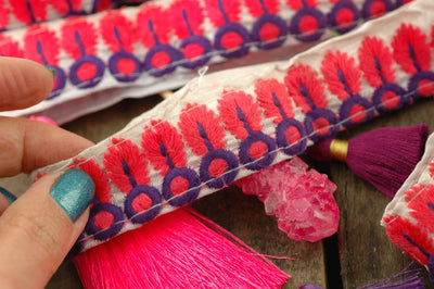 "Neon Pink Purple Plume Embroidered Trim, Ribbon, Sari Border from India, 1 1/8"" x 1 yard, Neon Spring Summer, Craft, Decorating Supplies - ShopWomanShopsWorld.com. Bone Beads, Tassels, Pom Poms, African Beads."