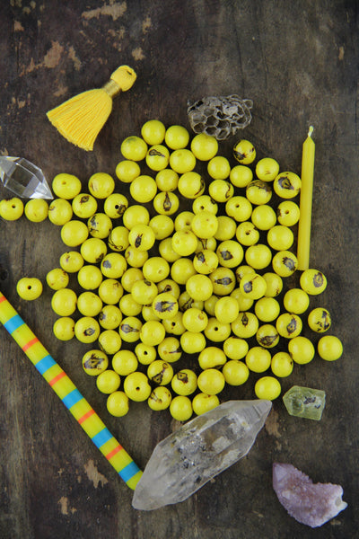 Zesty Yellow: Real, Natural Acai Beads, 10mm, 100 pieces - ShopWomanShopsWorld.com. Bone Beads, Tassels, Pom Poms, African Beads.