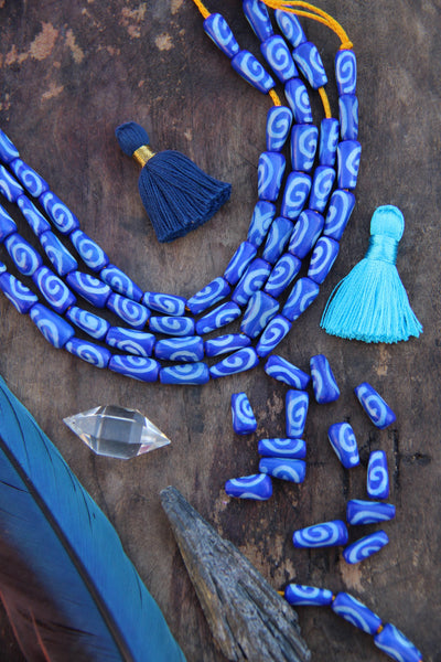 Cobalt Teardrop Bone Beads: Spiral Design, 6x12mm, 16 pieces - ShopWomanShopsWorld.com. Bone Beads, Tassels, Pom Poms, African Beads.
