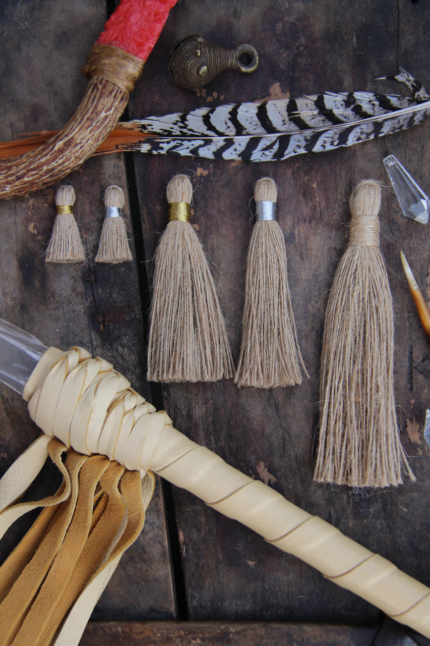 Natural Jute Shabby Handmade Tassels, Silver and Gold Binding, Assorted Sizes - ShopWomanShopsWorld.com. Bone Beads, Tassels, Pom Poms, African Beads.