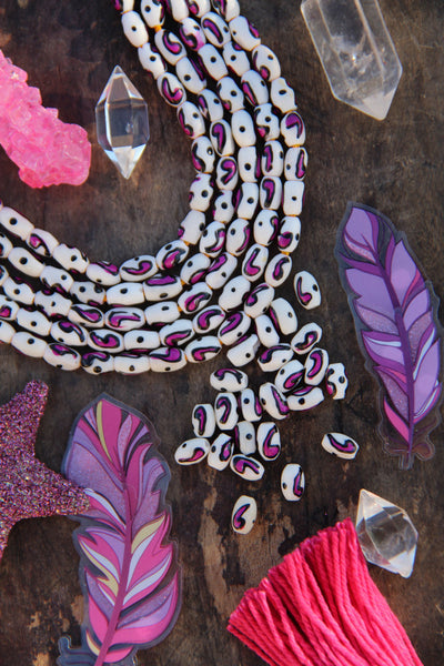 Hand Painted Pink Comma Barrel Beads, 5x8mm, 23 pieces - ShopWomanShopsWorld.com. Bone Beads, Tassels, Pom Poms, African Beads.