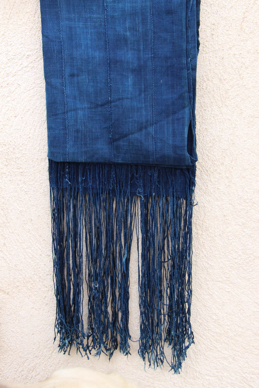 Indigo Fringe, Blue Strip Cloth w/ Tassels, Boho Tribal Wall Hanging