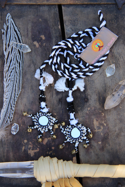 Small Camel Swag: Black and White Mirrored Charm with Bells - ShopWomanShopsWorld.com. Bone Beads, Tassels, Pom Poms, African Beads.